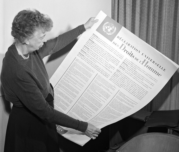 human rights day u s embassy in  eleanor roosevelt holds the universal declaration of human rights in 1948 photo © united nations