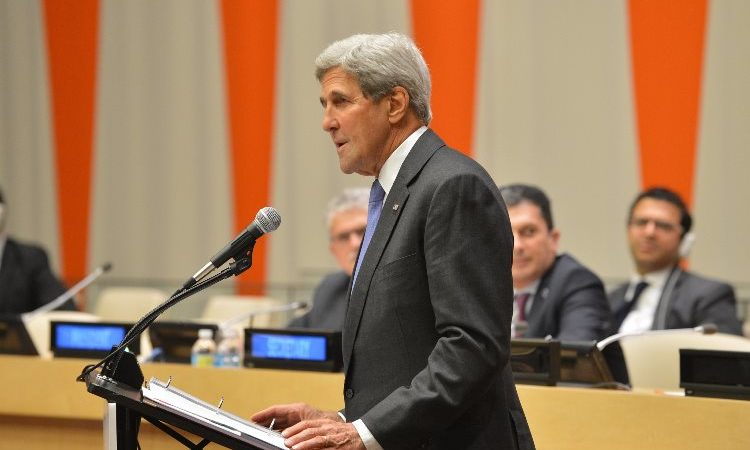 U.S. Secretary of State John Kerry delivers remarks at the General Assembly Event on Refugees and Migrants, at the United Nations Economic and Social Council Chamber, in New York City, New York on September 19, 2016. [State Department Photo/Public Domain]