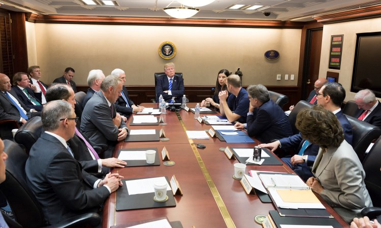 Donald J. Trump, joined by Vice President Mike Pence, meets with members his Cabinet, Acting U.S. Secretary of Homeland Security Elaine Duke; FEMA Administrator Brock Long; U.S. Secretary of Health and Human Resources Tom Price; U.S. Secretary of Energy Rick Perry; U.S. Secretary of Interior Ryan Zinke; U.S. Secretary of the Treasury Steven Mnuchin; Secretary of Labor Alex Acosta; U.S. Transportation Secretary Elaine Chao, Environmental Protection Agency Administrator Scott Pruitt, and senior White House advisers, Tuesday, Sept. 26, 2017, in the Situation Room at the White House in Washington, D.C., on the latest update on Hurricane Maria relief and recovery efforts. for the island. (Official White House Photo by Joyce N. Boghosian)
